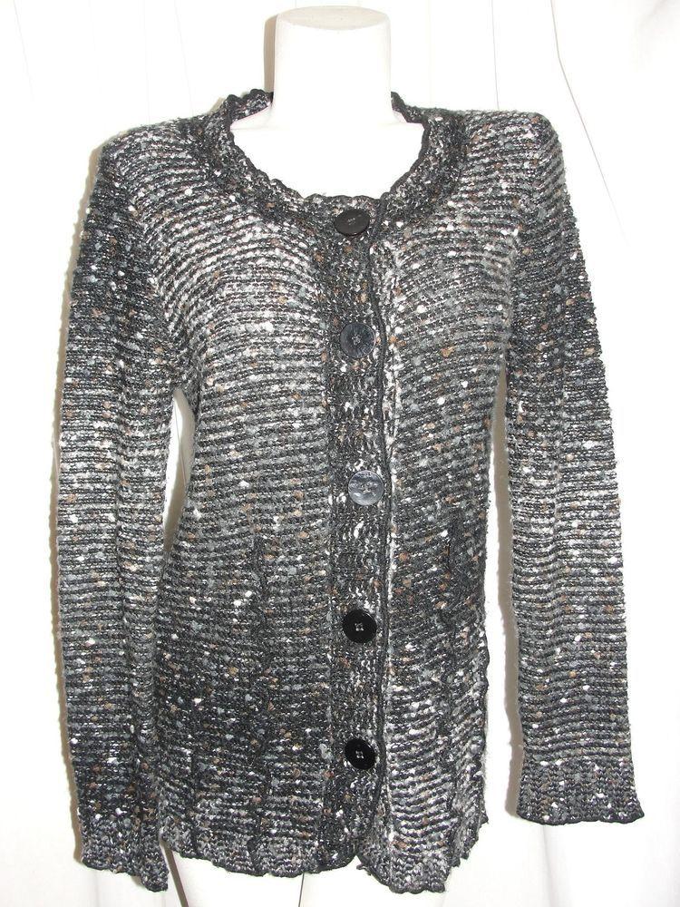 a4e496d3c6c BCBG Max Azria Sweater Black Brown Acrylic Alpaca Mohair Button Cardigan  Size L  BCBGMaxAzria  Cardigan  CasualWork