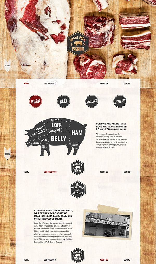 One Page Website And Logo For A Pork Processing Plant And Seller Of Other Meats Such As Beef And Chicken My Goal Was To Meat Shop Meat Meat Recipes For Dinner