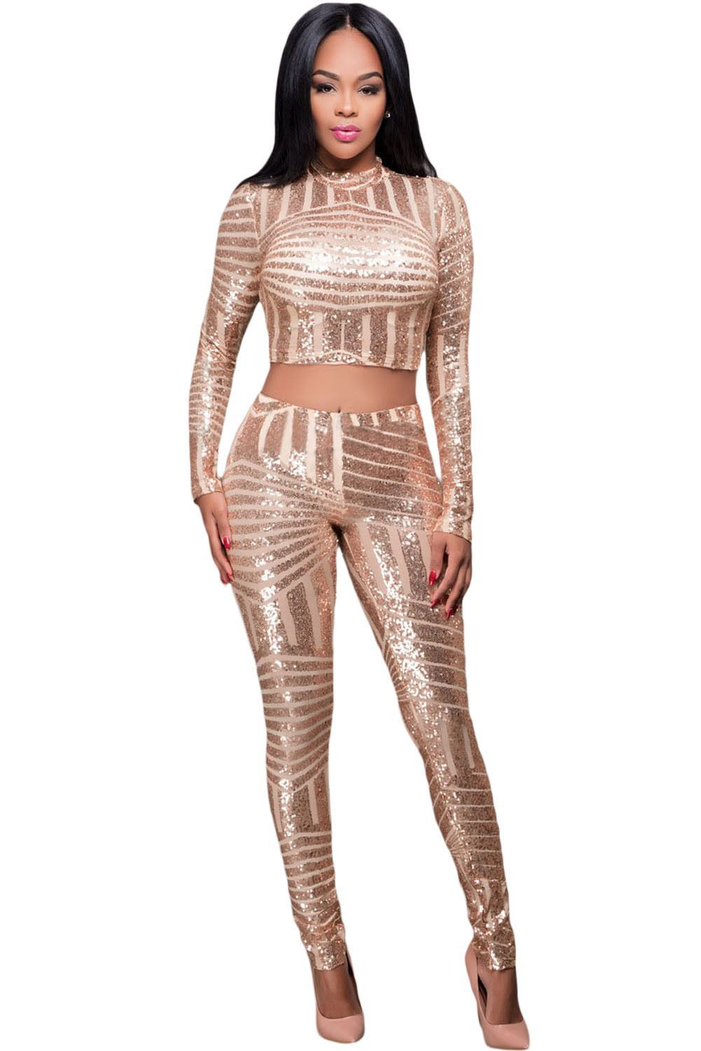 f01237b014f8 Gold Sequins Overall Two Pieces Pants Set