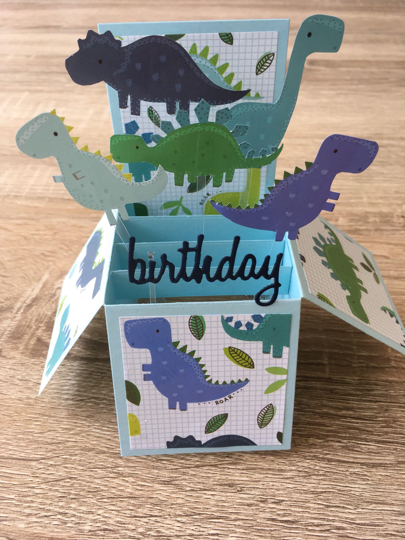 Dinosaur Pop Up Box Card Birthday Pop Up Box Cards Card Box Birthday Cards