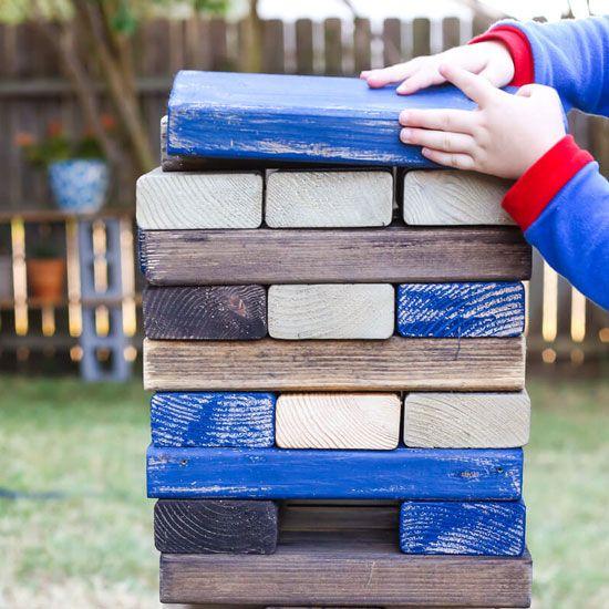 How to make DIY backyard blocks to play games like Jenga ...