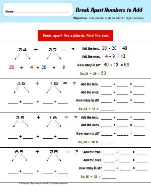 worksheet break apart numbers to add use mental math to add 2 digit numbers math. Black Bedroom Furniture Sets. Home Design Ideas