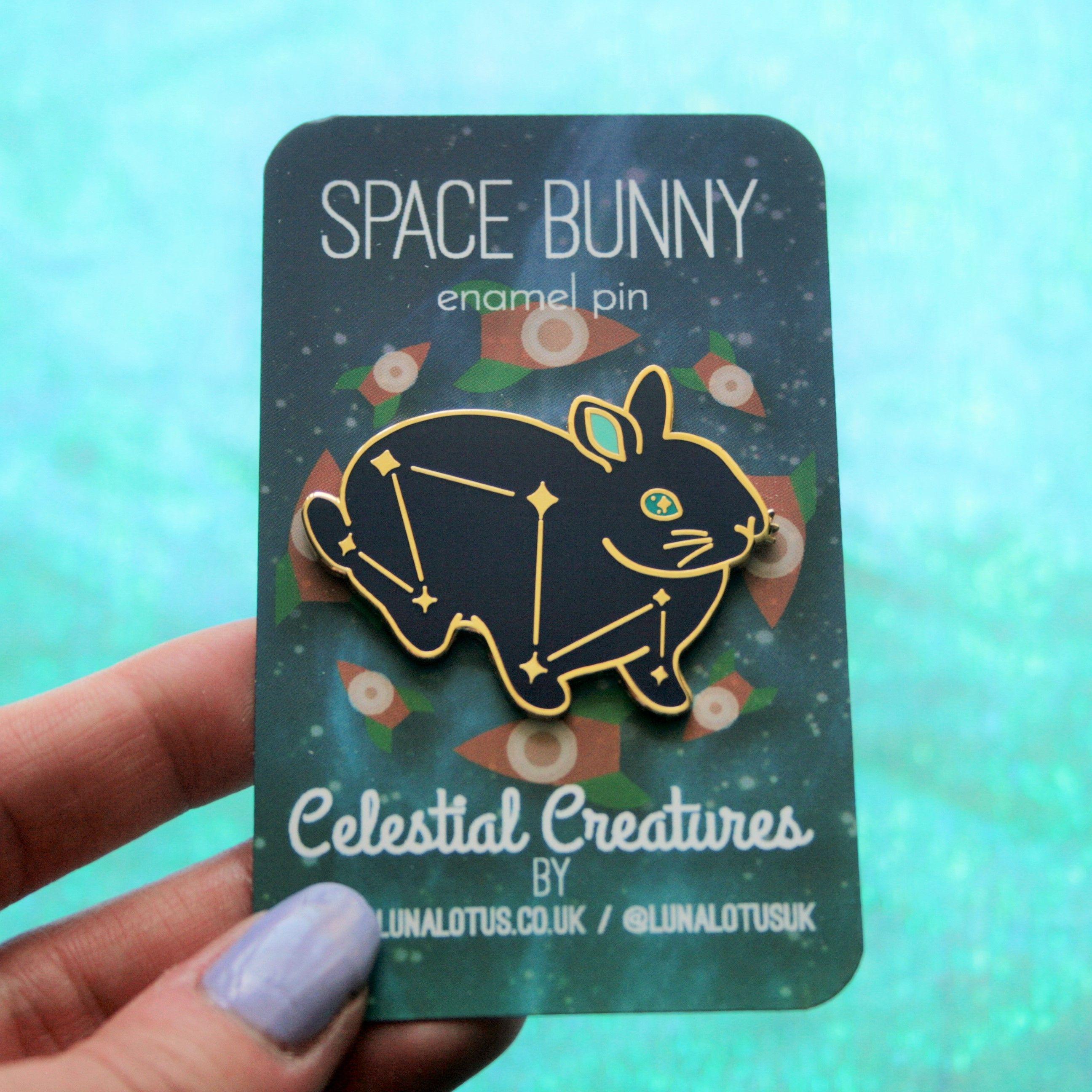 2309eb9250f Space Bunny Hard Enamel Pin in 2019   Enamel Pins   Lapel pins, Pin ...