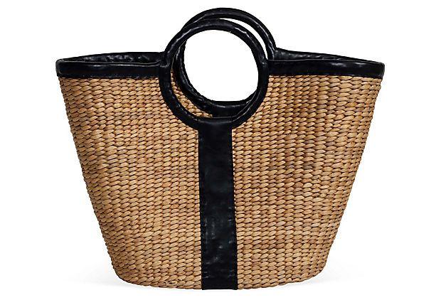 Woven Water Basket w/ Leather Strap on OneKingsLane.com