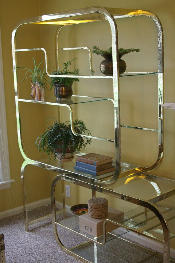 RESERVED FOR LINDLEY Vintage Hollywood Regency Brass Etagere with ...