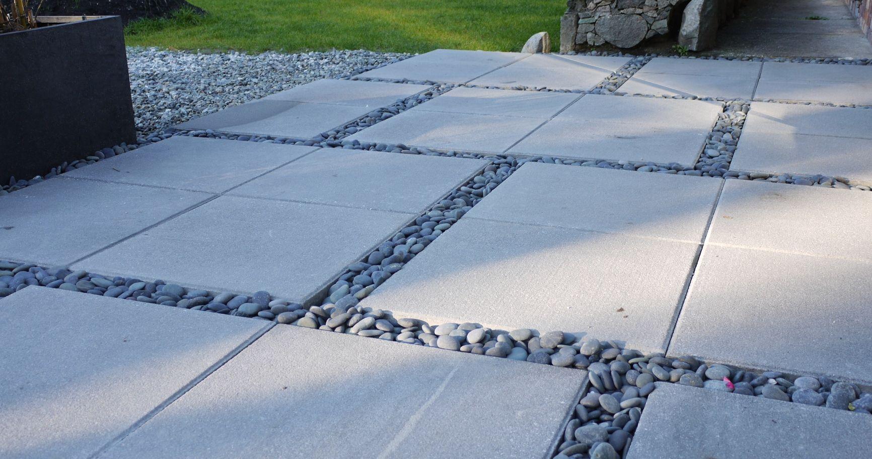 concrete patio stones and river rocks