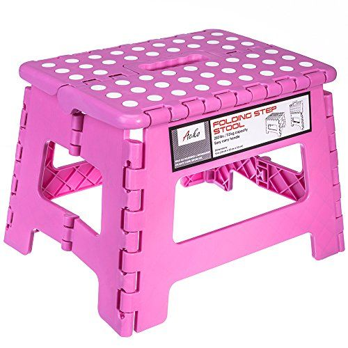 Acko 11 Inches Non Slip Folding Step Stool For Kids And Adults With Handle Holds Up To 250 Lbs Pink Click Image Folding Step Stool Step Stool Kids Step Stool
