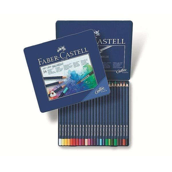 Faber Castell Watercolour Pencil Art Grip Aquarelle Tin Of 24