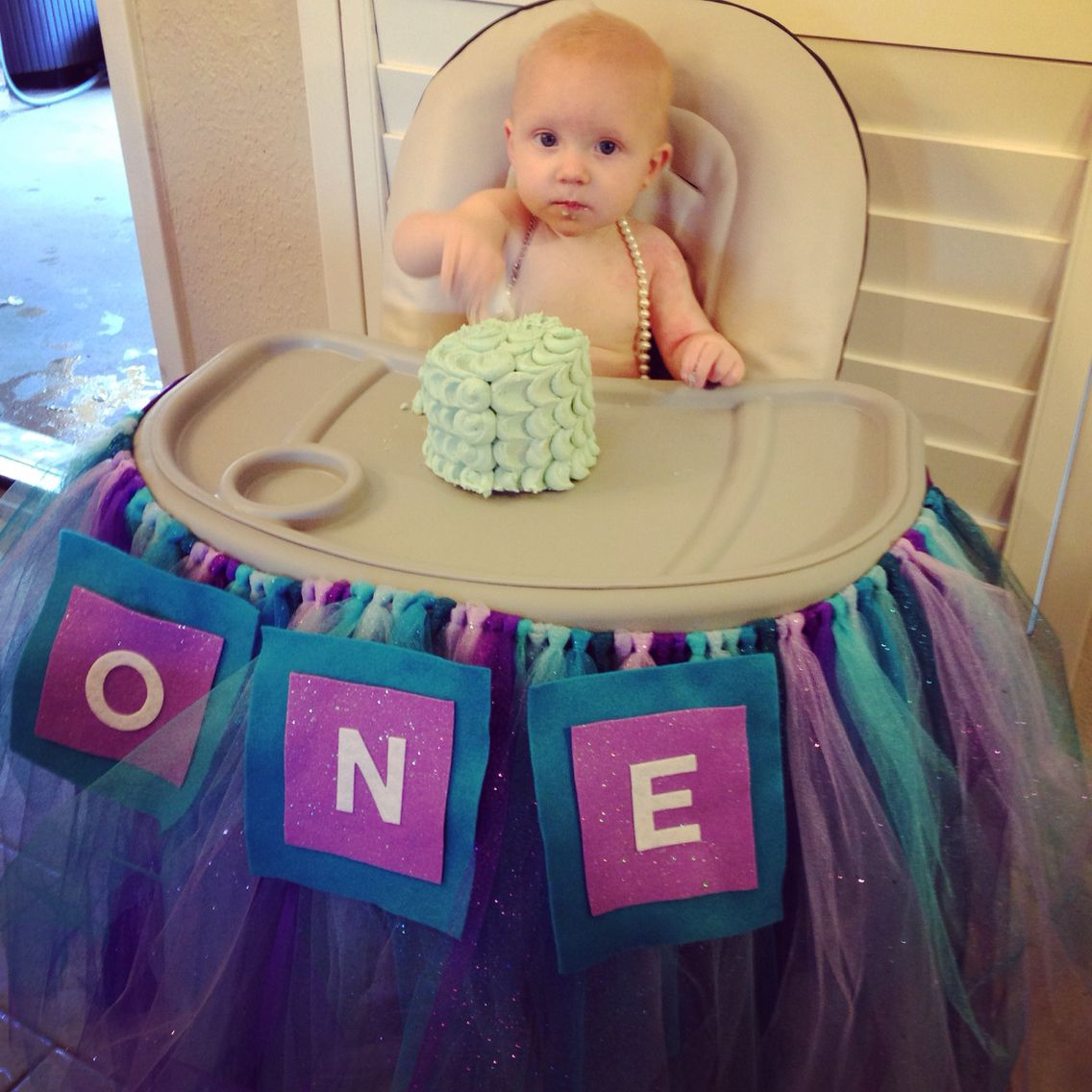 Purple And Turquoise Teal Petal Smash Cake Diy High Chair
