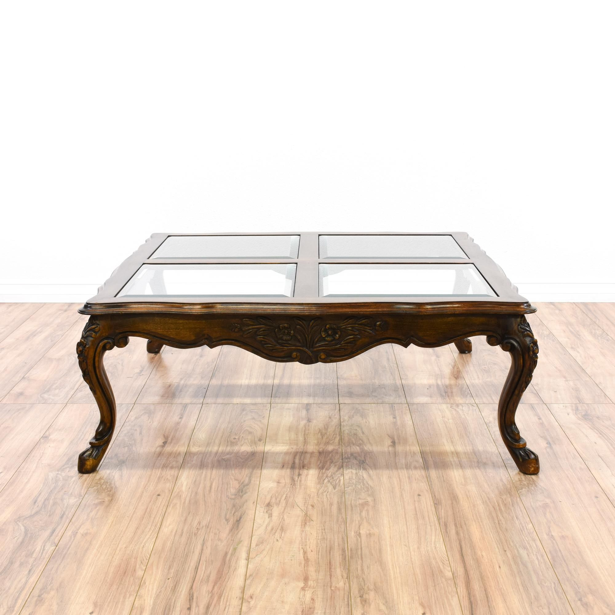 This Coffee Table Is Featured In A Solid Wood With A Glossy Walnut Finish This Traditional Style Cocktail Table Has A Glass T Coffee Table Vintage Table Table
