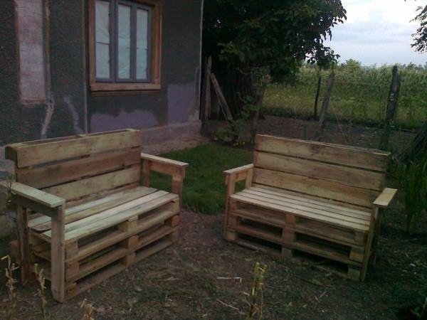 Garden Benches From Reclaimed Wooden Pallets u2022 Pallet Ideas