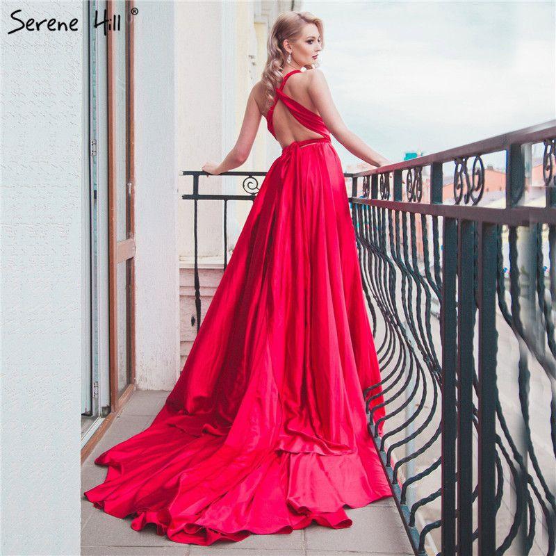 Vestiti Eleganti In Seta.Elegante Backless Seta Photography Abito Lungo Treno Fagiolo Rosso