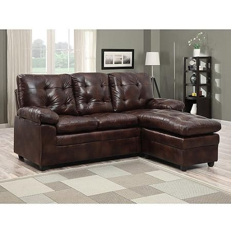 399 00 Buchannan Faux Leather Sectional Sofa With Reversible Chaise Chestnut 79 5 W X 62 D X Leather Sectional Sofas Leather Sectional Sofa Faux Leather Sofa