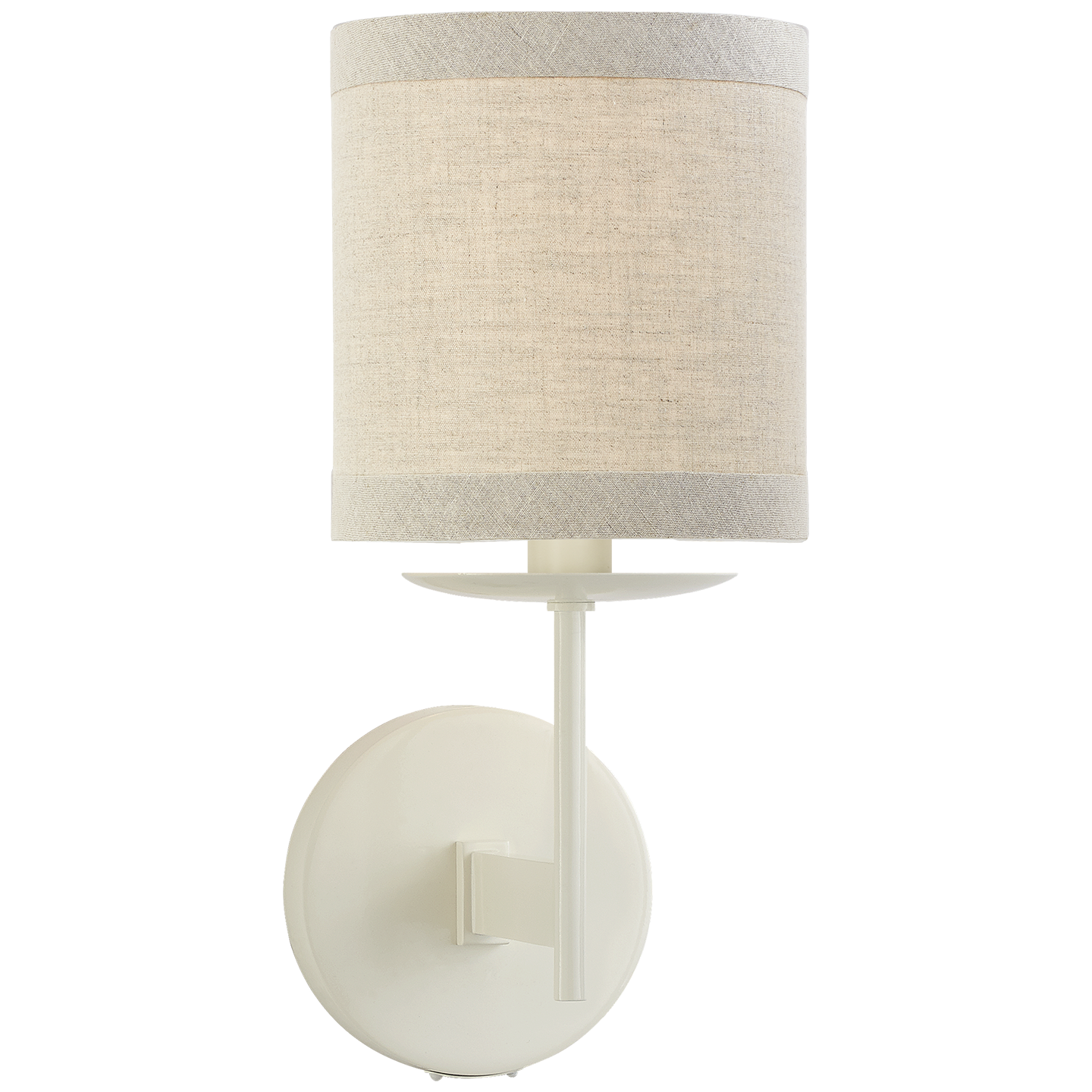 """Walker Small Sconce in Light Cream with Natural Linen Shade Item # KS 2070LC-NL   Designer: kate spade new york Height: 12.25"""" Width: 5.5"""" Extension: 7.25"""" Backplate: 4.5"""" Round Socket: E12 Candelabra Wattage: 60 B"""