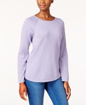 Karen Scott Cotton Curved-Hem Sweater, Created for Macy's - Purple XXL