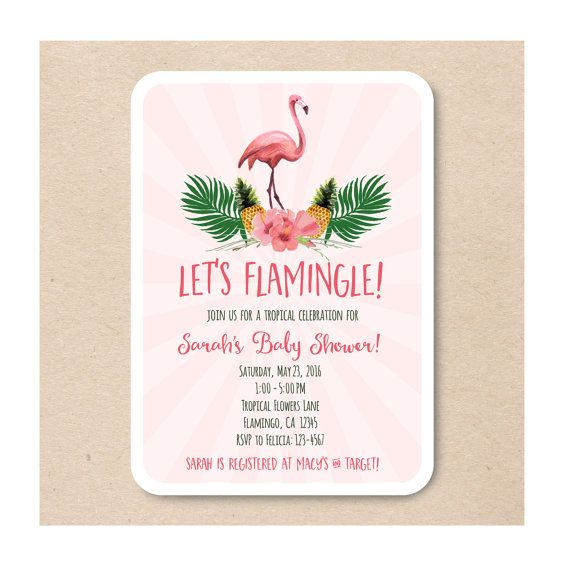 Flamingo Pineapple Tropical Baby Shower Sioree PRINTABLE Invite Invitation