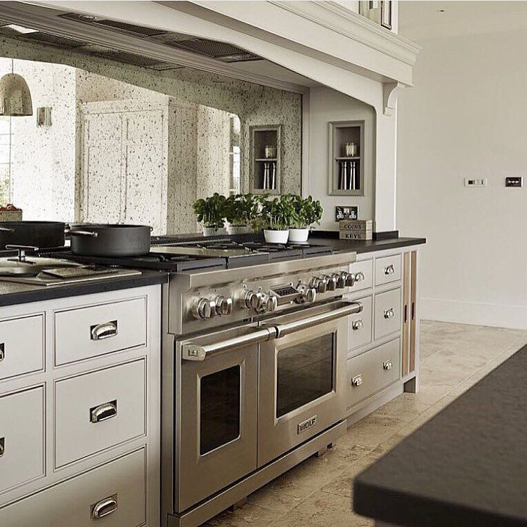 Antique Mirror Backslash In Alcove With Wolf Cooker Kitchen