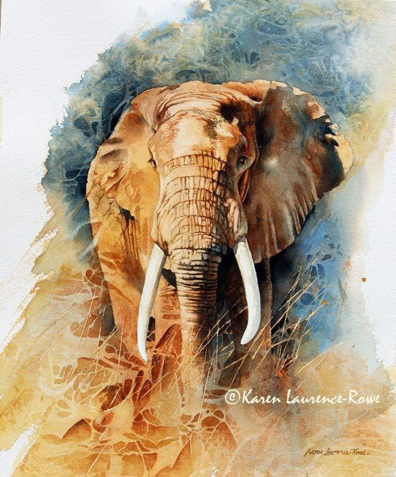 Karen Laurence Rowe With Images Watercolor Elephant Elephant