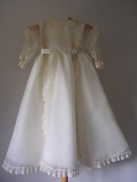 Elegance: handmade christening gown with bonnet in silk organdie with valencienne laces by ExquisiteDesignRS in DaWanda.com
