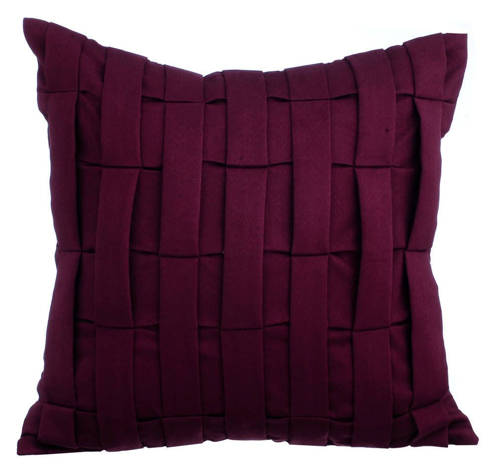Decorative Burgundy Purple Couch Cushion 12x12 Etsy Suede Throw Pillows Cushions On Sofa Pillow Texture