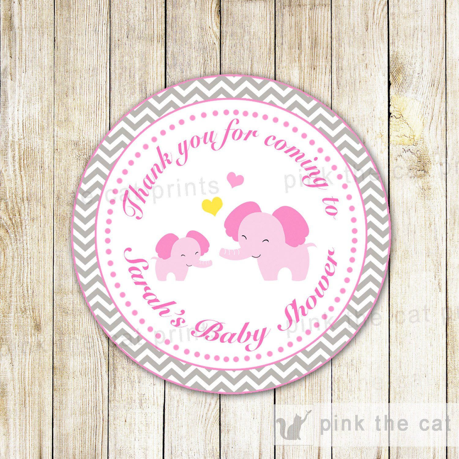 Pink Elephant Gift Favor Label Thank You Tag Sticker Baby Girl ...