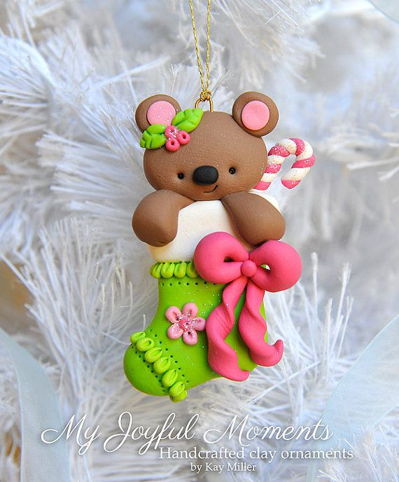 Handcrafted Polymer Clay Bear In A Stocking Ornament