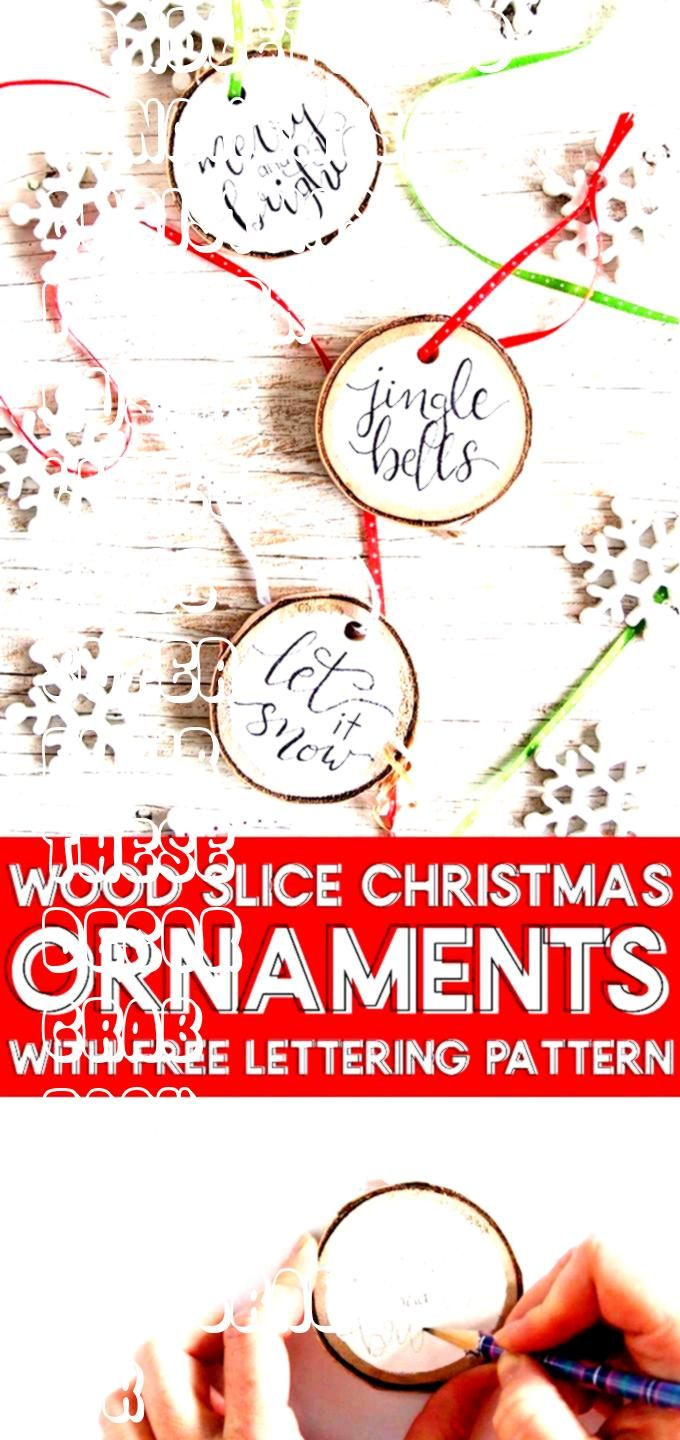 our FREE pattern and add a little rustic flair to your Christmas decor with these easy to make handlettered wood slice Christmas ornamentsGrab our FREE pattern and add a...