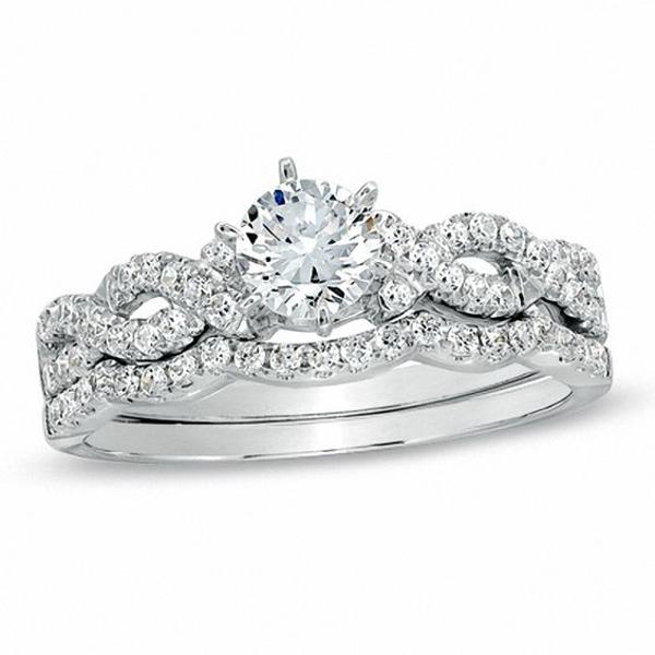 7/8 CT. T.w. Diamond Braided Bridal Set in 14K White Gold