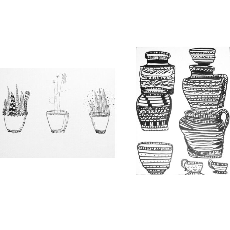#art #print #ink #plants #pen #summer #pots