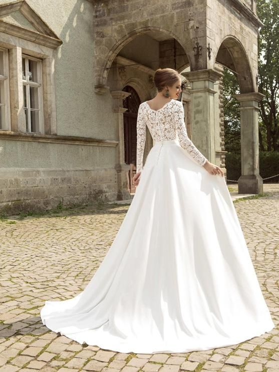 67dd278ba8d9 A-line V-neck Sweep/Brush Train Long Sleeve Chiffon Wedding Dress # VB429