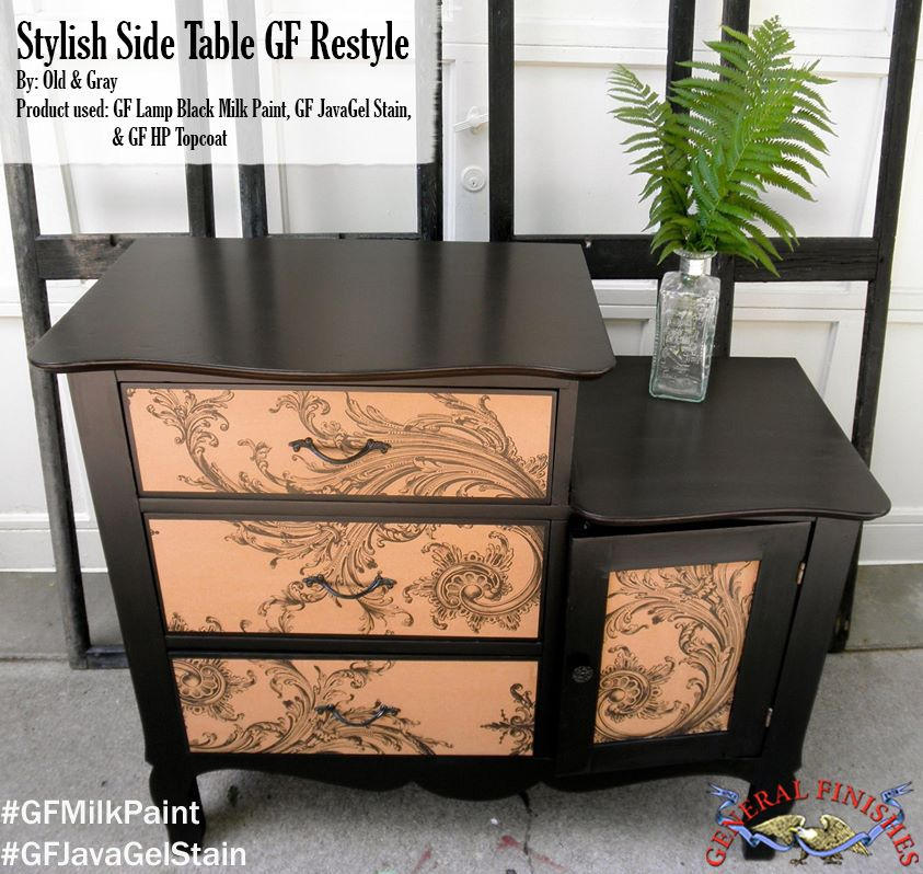 Old & Gray, https://www.facebook.com/vintage.old.gray?fref=ts, gave this table a stylish makeover with General Finishes Lamp Black Milk Paint, Java Gel Stain and our water based High Performance Top Coat. #generalfinishes #gfmilkpaint #javagelstain