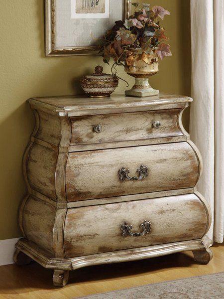 Distressed Vintage Bedroom Inspiration: Distressed-White-Bombe-Dresser-Chest-MBW-Furniture... I