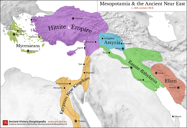 Map Of Mesopotamia And The Ancient Near East C 1300 Bce Ancient Near East Ancient Mesopotamia Mesopotamia