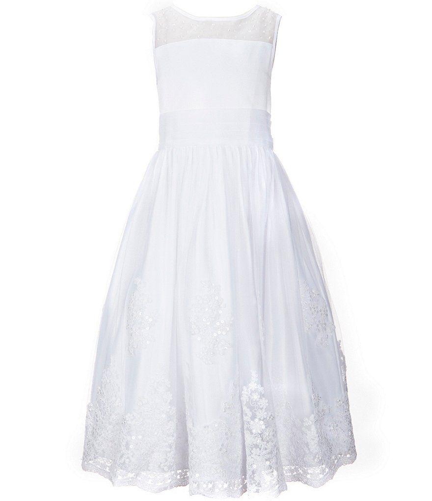 Wedding dresses dillards  Us Angels Big Girls  Sleeveless Organza Lace TeaLength Dress