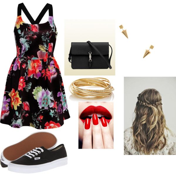 Night out with friend by layla-barrera on Polyvore featuring Rare London, Vans, Gucci, The Limited and Jeweliq