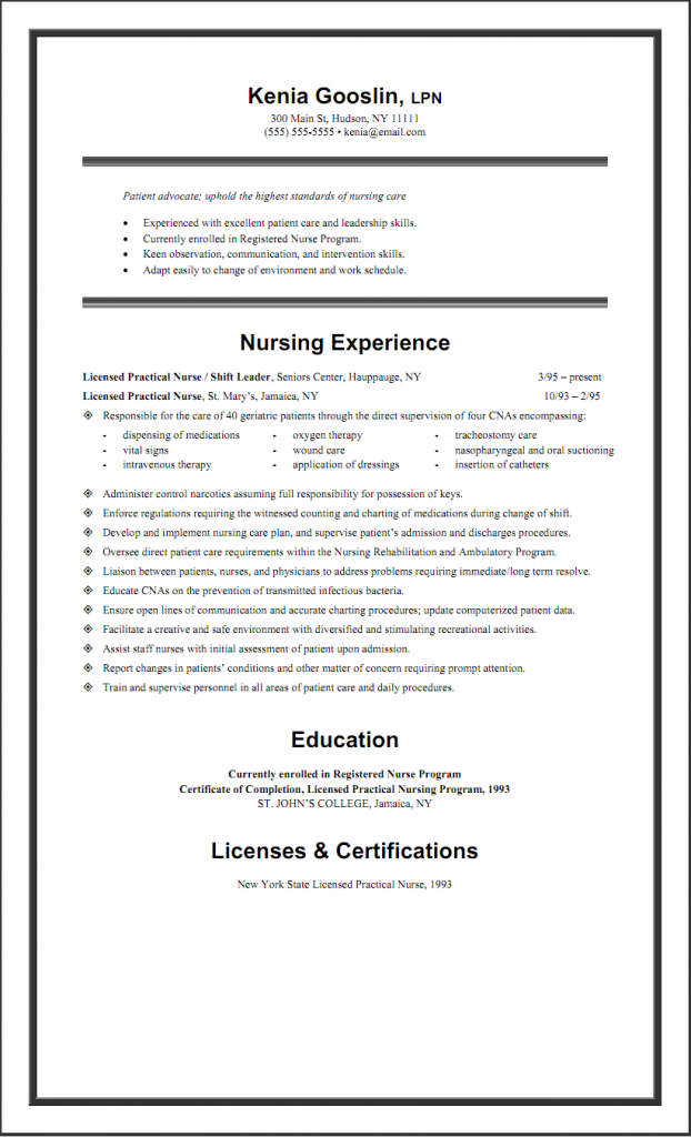 Exceptional Sample LPN Resume One Page Idea Lpn Skills For Resume
