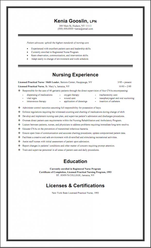 Sample Lpn Resume One Page Lpn Resume Registered Nurse Resume Nursing Resume