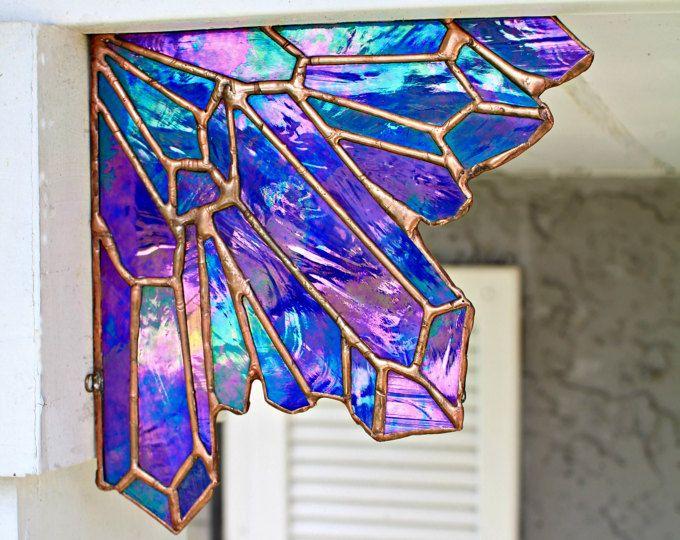 Sapphire Stained Glass Crystal Corner Aura Crystal September Birthstone Virgo Home Decor Bohemian Deco Faux Stained Glass Glass Wall Art Stained Glass Art