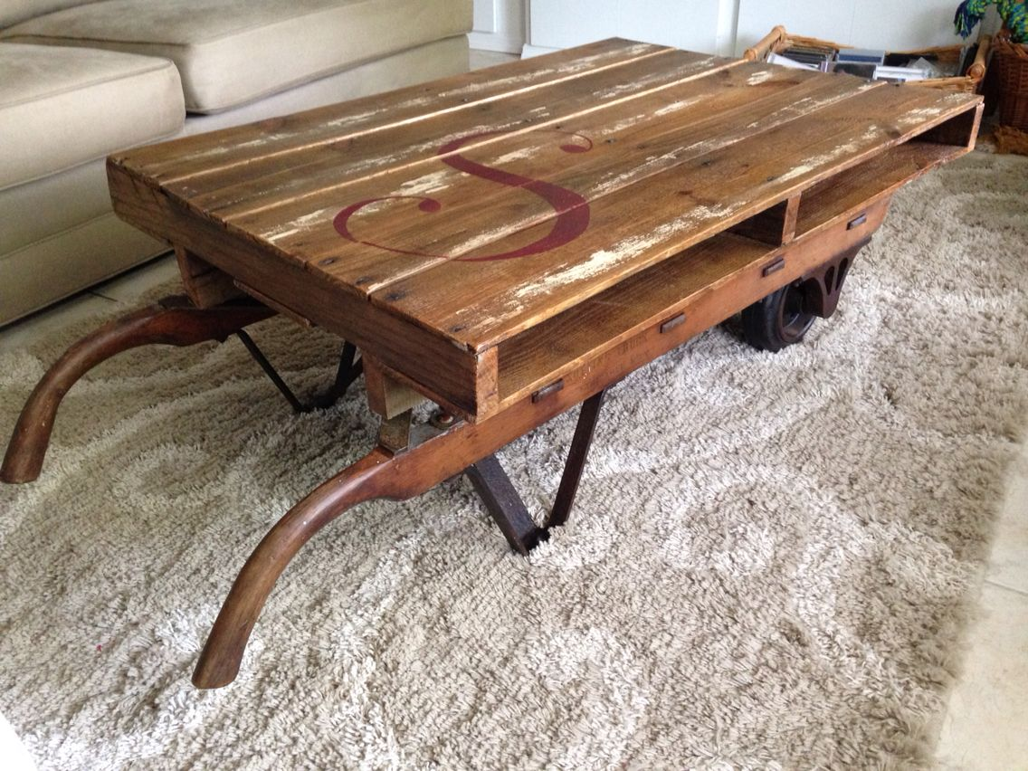 Pallet Table Sits Atop An Antique Hand Truck Clear