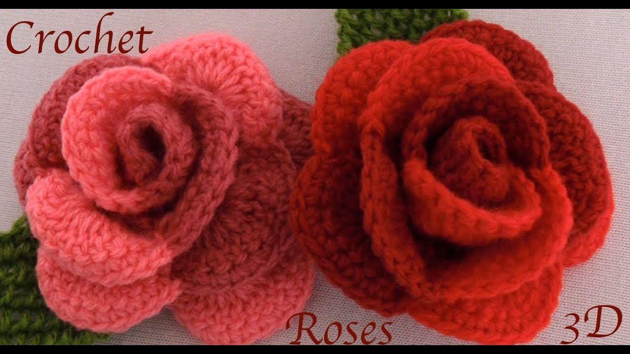 Como hacer rosas en 3D de dos colores tejidas con Gancho Crochet ...