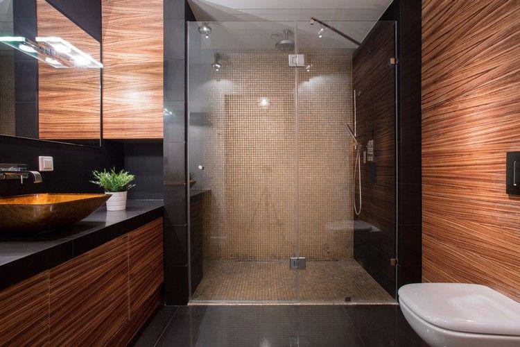 Braun Schwarz Badezimmer Duschbereich Beige Brown Interior