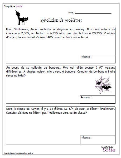 Reso Probleme Halloween0001 5e Exercices Mathematiques Problemes Mathematiques Education Mathematique