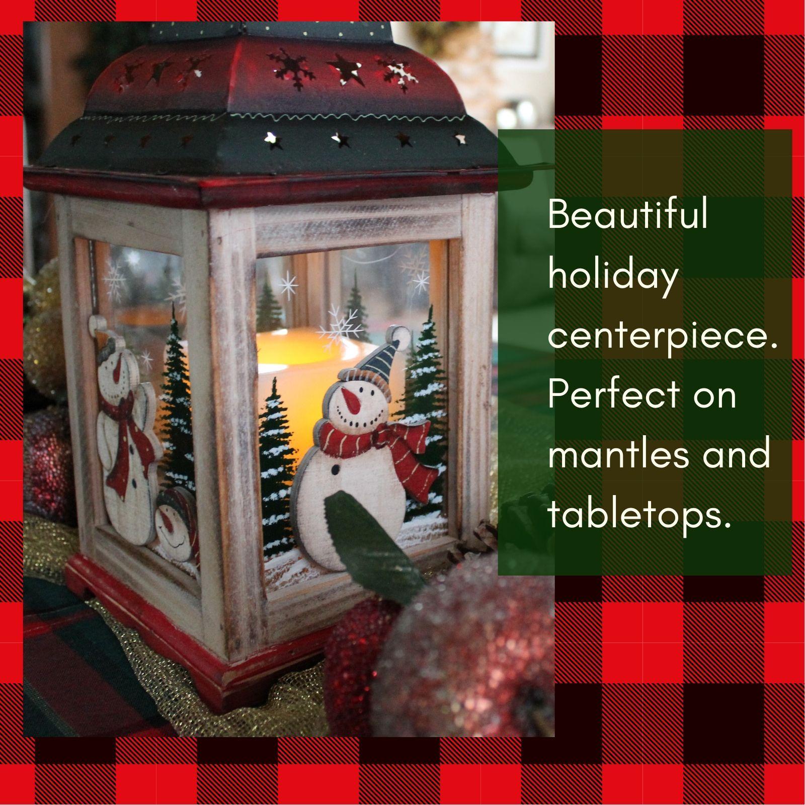 Christmas Snowman Lantern Holiday Table Centerpieces Lanterns Decor Decorative Holiday