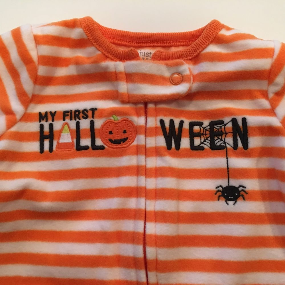carters 3m orange white striped one piece sleeper halloween theme 9 125 lb carters