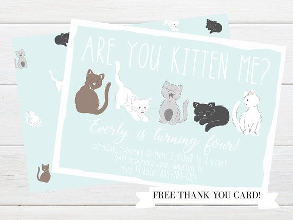 Cute kitten party invitation bashful blue kitten party party adorable pink or blue kitten birthday party invitations from little lemon design co kitty filmwisefo Image collections
