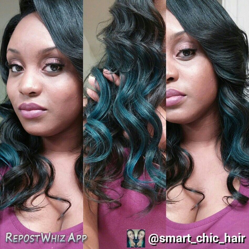 Luxe Body Wave Hair Extensions from Smartchichair.com custom colored teal and blue highlights. Top quality Brazilian Virgin Hair