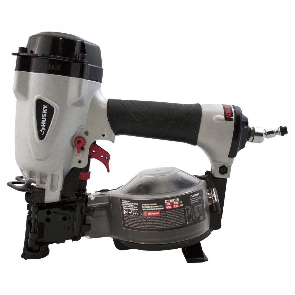 Husky Pneumatic 15 Degree 1 3 4 In Coil Roofing Nailer Roofing Nailer Coil Nailer Fiber Cement Siding
