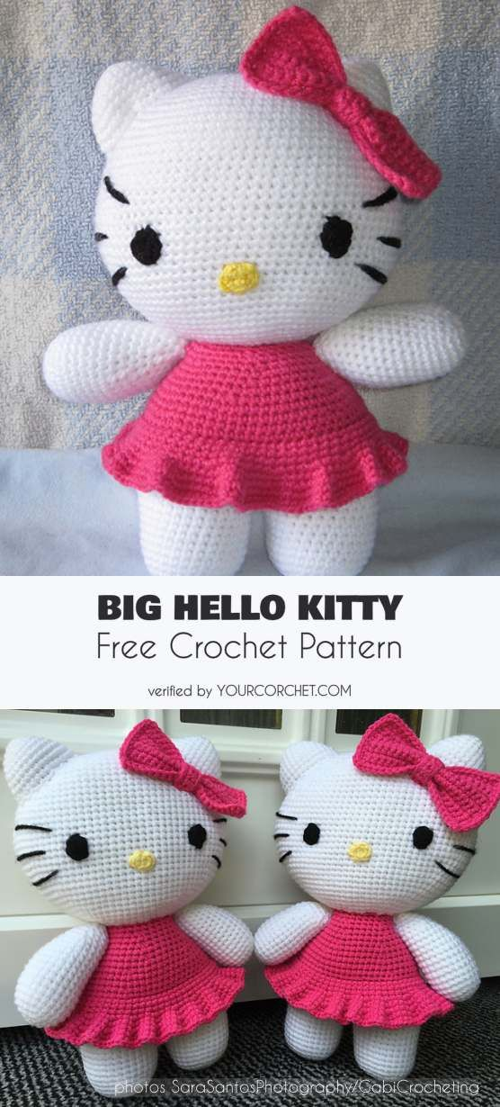 Big Hello Kitty Amigurumi Free Pattern | Hello kitty crochet