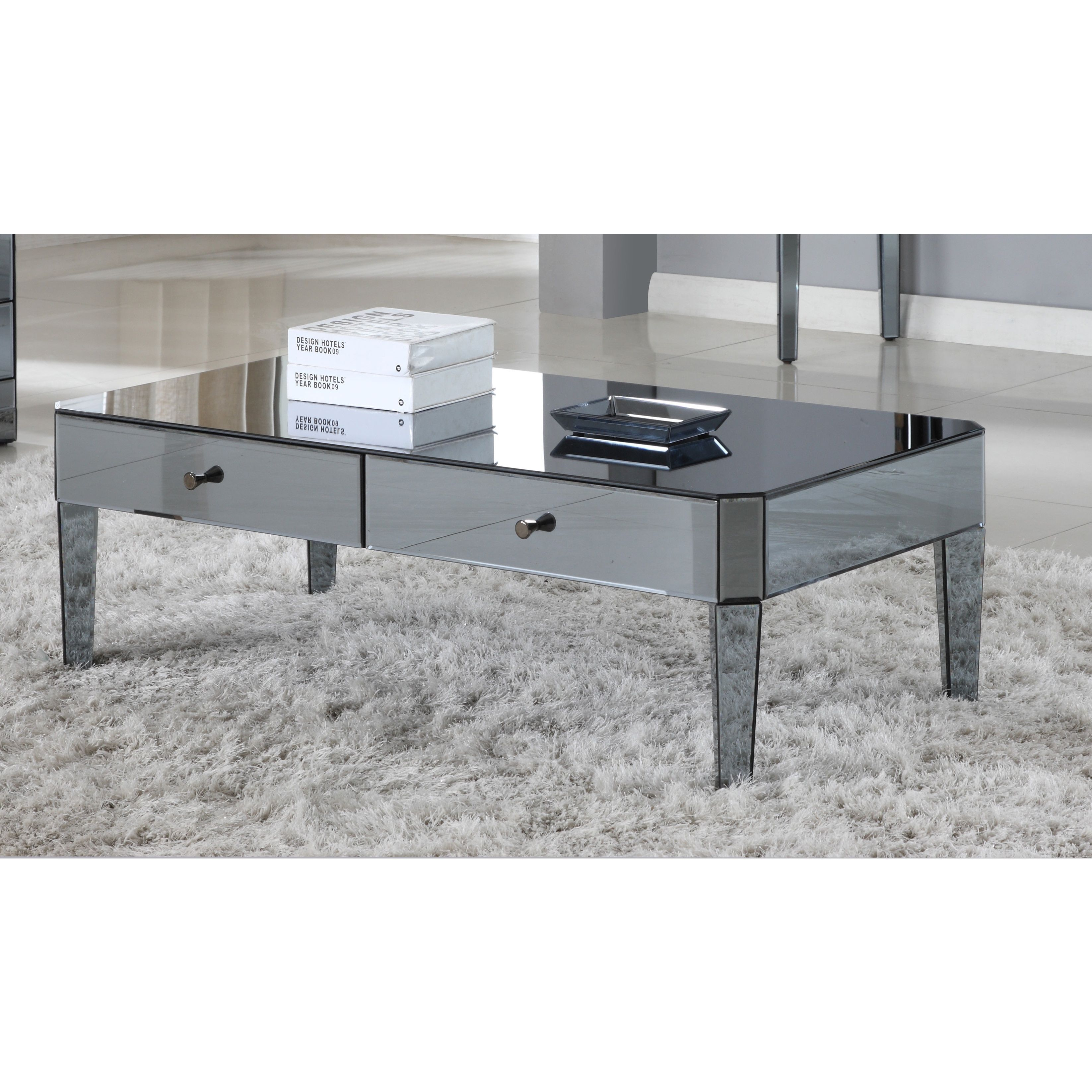 Best Master Furniture D1120 Mirrored Coffee Table Smoked Black