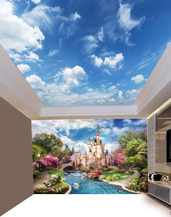 Sunny Clear Sky Ceiling Sticker Ceiling decor Sun Heavens Brightly Photo Paper Ceiling Mural Self Ad